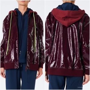 TIBI COATED TRACK JACKET WITH REMOVABLE HOOD